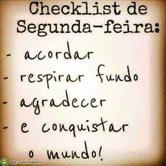 Checklist de segunda-feira