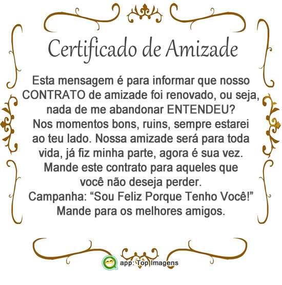 Certificado de amizade