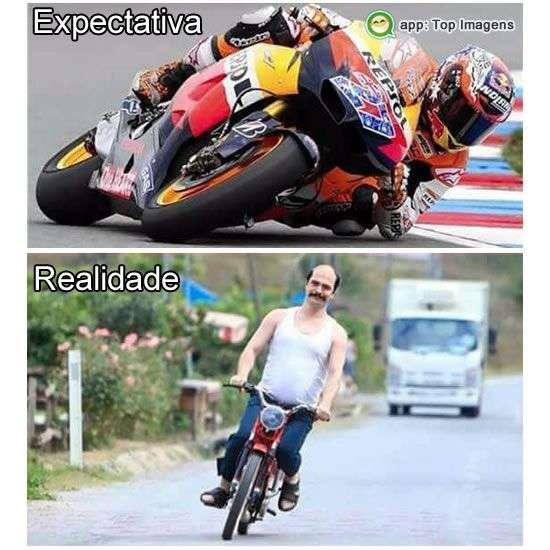 Andando de moto expectativa e realidade