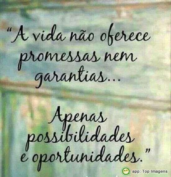 A vida não oferece promessas